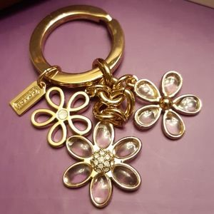 Coach keychain flower multi mix gold and clear